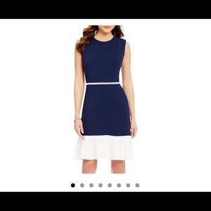 Karl lagerfeld blue and white trimmed dress 8